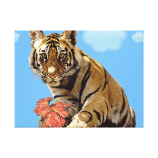 Exotic Tiger With Flowers. Stretched Canvas Print