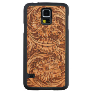 Exotic Tooled Leather Look Maple Galaxy S5 Slim Case