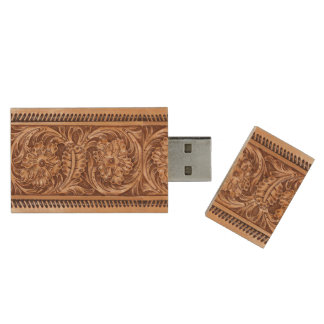 Exotic Tooled Leather | tan Wood USB Flash Drive