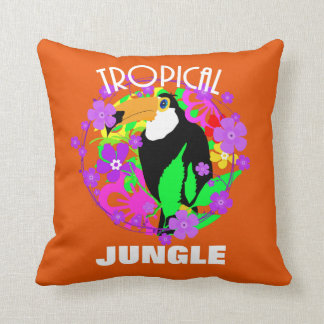 Exotic Toucan Bird Cute Tropical Jungle  Colorful Cushion