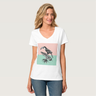 Exotic toucan sitting on the tropic banana palm T-Shirt
