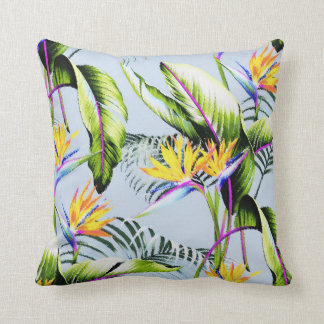 Exotic Tropical Birds of Paradise Palm Blue Accent Throw Cushion