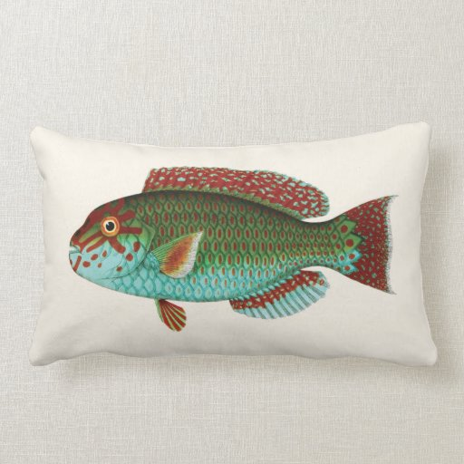 Exotic Tropical Fish in Aqua Blue and Red Pillows