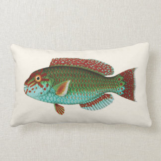 Exotic Tropical Fish in Aqua Blue and Red Lumbar Cushion