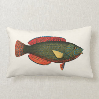 Exotic Tropical Fish in Green and Red Lumbar Cushion