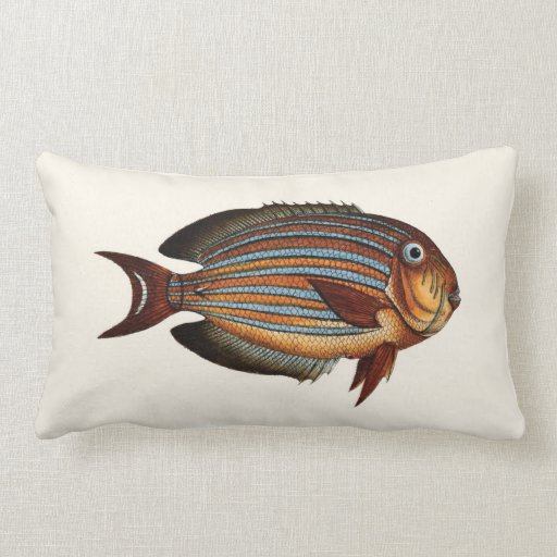 Exotic Tropical Fish in Orange and Blue Throw Pillows