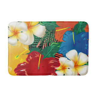 Exotic Tropical Floral Design Bath Mat