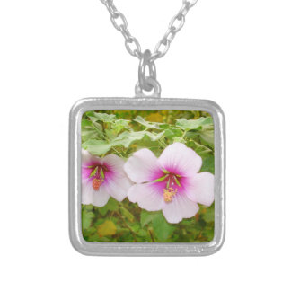 exotic tropical hibiscus flowers square pendant necklace