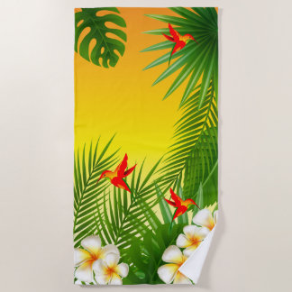 Exotic Tropical Hummingbird Design Beach Towel