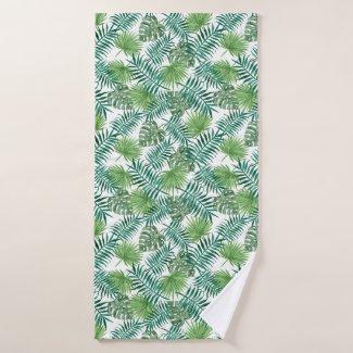 Exotic Tropical Palm Tree Leaves Jungle Pattern Bath Towel Set