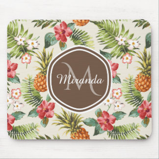 Exotic Tropical Pineapple Floral Brown Monogram Mouse Mat