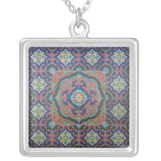 Exotic Vintage Tile Design Personalized Necklace