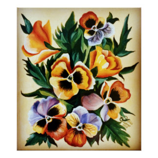Exotic Watercolor Multicolored Pansies Poster