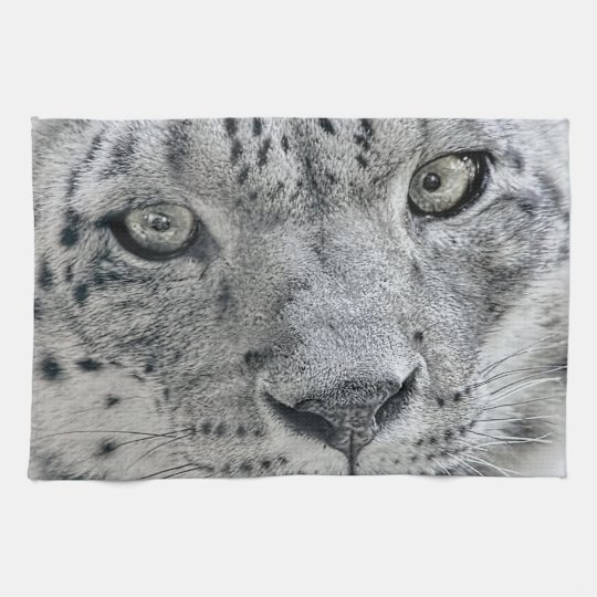 Exotic White Snow Leopard Tea Towel