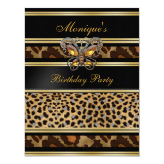 Exotic Wild Animal Prints Birthday Black Gold 2 11 Cm X 14 Cm Invitation Card