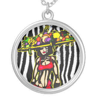 Exotic Woman Round Pendant Necklace