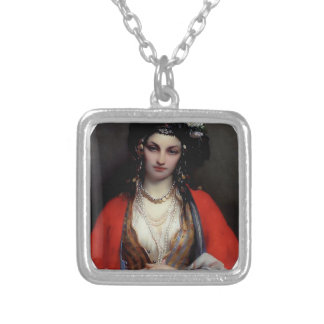 Exotic woman painting custom necklace