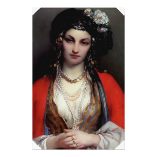 Exotic woman painting customized stationery