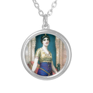 Exotic woman palace paiting necklace