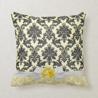 Exotic Yellow Plumeria Damask Pillow
