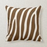 Exotic Zebra Stripes in Brown Cushion