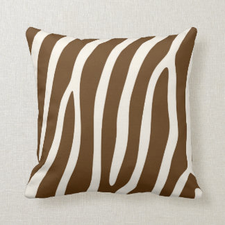 Exotic Zebra Stripes in Brown Throw Cushion