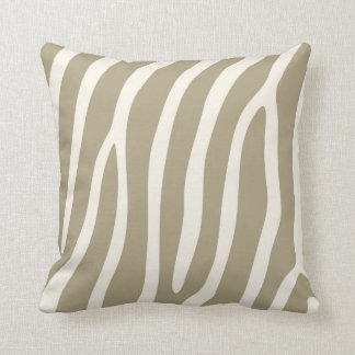 Exotic Zebra Stripes in Light Khaki Cushion