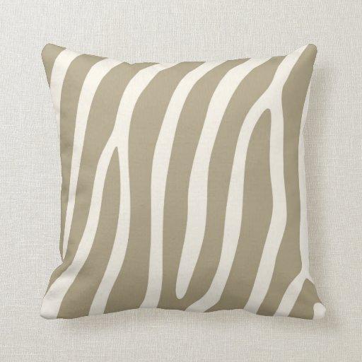 Exotic Zebra Stripes in Light Khaki Pillow
