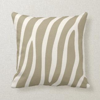 Exotic Zebra Stripes in Light Khaki Throw Cushions