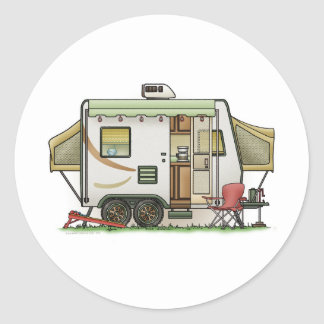 Expandable Hybred Trailer Camper Classic Round Sticker