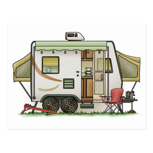 Expandable Hybred Trailer Camper Post Card