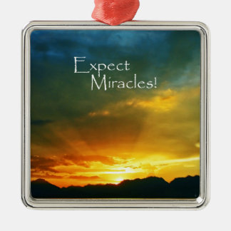 Expect Miracles! Silver-Colored Square Decoration