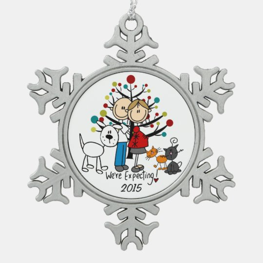 Expectant Couple 2 Cats Dog Snowflake Ornament