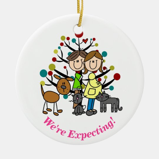 Expectant Couple, Two Cats, Dog Ornament