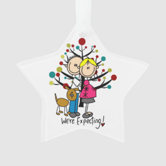 Expectant Couple w. Dog Holiday Acrylic Ornament