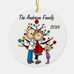 Expectant Couple With Girl Custom Holiday Ornament