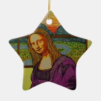 Expectant Mona Lisa Christmas Ornament
