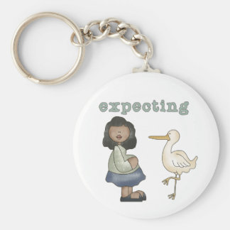Expecting - African American Mom to Be and Stork Key Ring