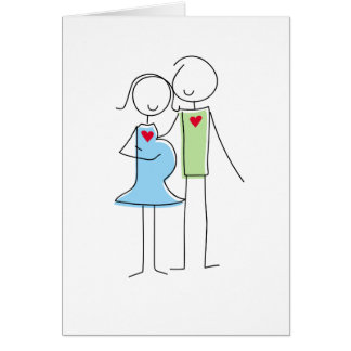 Expecting Couple Greeting Card, Blue and Green Card