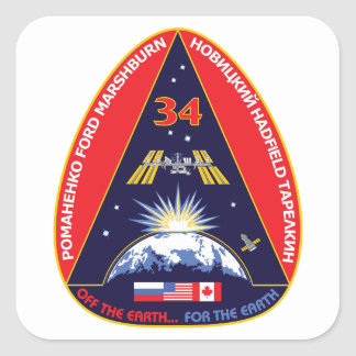 Expedition Crews:   Expedition 34 Flight Patch Square Sticker