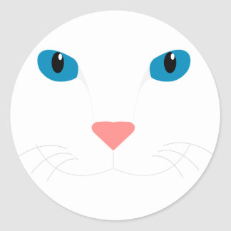 Expensive White Cat Classic Round Sticker
