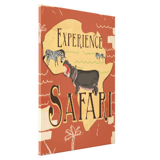 Experience African Safari Vintage Travel Poster Gallery Wrap Canvas