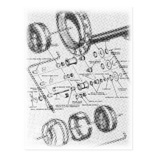 Exploded Hub Diagram (black/white) Postcard