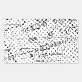 Exploded Hub Diagram (black/white) Rectangular Sticker