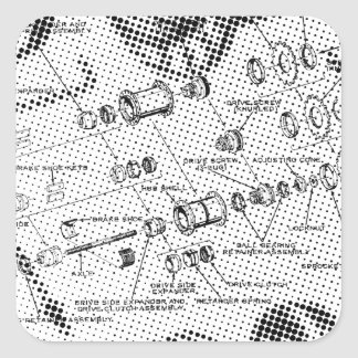 Exploded Hub Diagram (black/white) Square Sticker