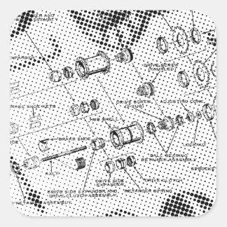 Exploded Hub Diagram (black/white) Square Stickers