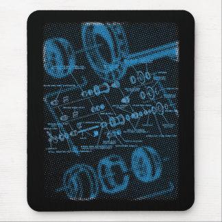 Exploded Hub Diagram (blue on dark) Mouse Mat