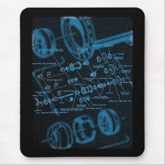 Exploded Hub Diagram (blue on dark) Mouse Pad