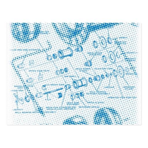Exploded Hub Diagram (blue) Postcards
