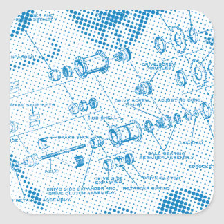 Exploded Hub Diagram blue Square Stickers